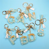 Cute Gold Green Gradient Color Resin Letter A-z Keychain Women Handbag Backpack Pendant Key Ring Fashion Car Jewelry