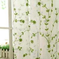 Vorhänge Baumwolle Leinen Blatt Stickerei Wohnzimmer Schlafzimmer Küche Bibliothek Boden Die sitzende 1 Stück Vorhangvorhänge