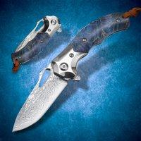 다마스커스 VG10 강철 접이식 나이프 베어링 빠른 오프닝 포켓 EDC 사냥 도구 싸우는 전술 멋진 칼 야외 낚시 하이킹 캠핑 자기 방어 블레이드
