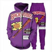 Yeni Erkekler / Bayan Backwoods Bal Berry Blunts 3D Baskı Rahat Moda Fermuar Hoodies / Sweatpants Hip Hop Tracksuits Hoodie + Pantolon Et020