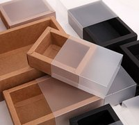 Buzlu PVC Kapak Kraft Kağıt Çekmece Kutuları DIY Hediye Kutusu Düğün Parti Ambalaj Için