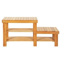 Bamboo Shoe Rack Bench with 2 Tiers of Shelves and 2 Seat Heights-Seat Storage