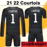 21 22 Courtois Luca Kit de Manga Curta Top Mens Futebol Jersey Goleiro Modric Isco Kroos Home Preto Adulto Terno Camisas De Futebol Fardos