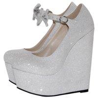 Обувь платье Гуфлон, Женская обувь, Серебряные клинья, Женская Свадьба Большой Размер Одиночный 16см Клиньев