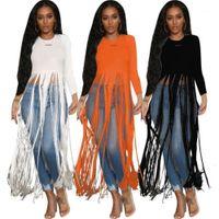 Luxury T-shirts Fashion Long Sleeve Crew Neck Tops Designer Female Autumn New Loose Casual Tshirts Tassels Womens Designer