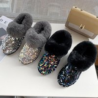 Boots Women's Snow 2121 Designer Glitter Cotton Fur Slippers For Women Big Size Casual Woman Ankle 91201