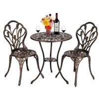 Мебель лагеря Патио набор в европейском стиле литого алюминия тюльпан бистро и стулья 3 шт. Бронза