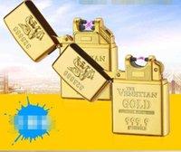 라이터 est 골드 벽돌 더블 단일 USB 아크 라이터 담배 전자 전기 충전식 펄스 선물 상자 흡연 도구