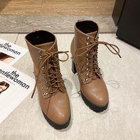Women Designer Boots Martin Desert Boot Flamingos Love Arrow Real Leather Medal Coarse Non-Slip Winter Shoes Size 34-40