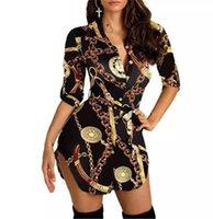 Women Gold Chain Printing Dresses Fashion Trend Half Sleeve Single Breasted Shirts Short Skirts Designer Female Cardigan Casual Tshirt Dress
