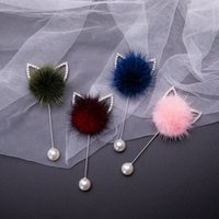 New rabbit ears plug-in long brooch real mink hair fur ball brooch pins for women handmade boutonniere stick pin lapel brooches 1142 B3