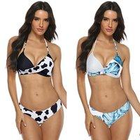 수영복 여성 수영복 Mujer 암소 인쇄 수영복 여성 두 조각 여성 비치 비키니 세트 2021에 대 한 Biquini 브라질 수영복