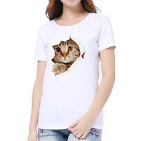 2021 3D Cat Print Harajuku Футболка Летний Повседневная Короткая Рукава О-Шея Футболка Одежда Китай Мода Женщины