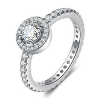 925 Sterling Silver CZ Diamond RING with gift box set Fit Pandora style Wedding Rings Engagement Jewelry for Women