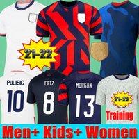 2022 Pulisic McKennie 축구 유니폼 Aaronson Micah 2021 Press Sargent Morgan America Football 21 22 Jerseys 미국 셔츠 여성 남성 키즈 프리 경기