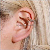 Charm Jewelry30Pcs Lot European Trend No Hole Earrings Retro Single Copper Diamond Cuff For Women Geometric Gold Ear Clip Fashion Jewelry Dr