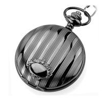 BESTIME Watch Quartz Movement Pocket Watches Antique Black Cover with Vertical Stripes Pattern 6 Pieces