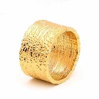 Varredor largura anel ouro cor areia pedra textura declaração anéis para mulheres moda jóias Bagued H0911