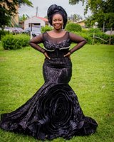 2021 Plus Size Arabic Aso Ebi Black Mermaid Stylish Prom Dresses Sheer Neck Lace Crystals Evening Formal Party Second Reception Gowns Dress ZJ220