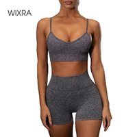 Wixra Женская тренировка спортивных костюмов CAMIS и фитнес шорты набор носить дамы быстрый сухой тренажерный зал спортивная йога одежда в два части платье