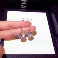 Donne di cristallo pendenti orecchini rotabili cerchio in argento sterling argento esagerazione gioielli da sera unici per la ragazza