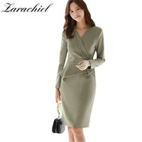 Ofis Bayanlar OL Zarif Kadınlar V Boyun Uzun Kollu Bodycon Bahar Sonbahar Ruffles Kadın Tek Parça Örgün İş Elbise 210416