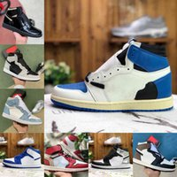 Air Jordan Retro Off Jordans white Nike Vendre 2021 Nouveau 1S 1S Basketball Chaussures Hommes Femmes Tie Type Og Bio Hack Lightbulb Blue Unc Patent Rouge