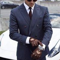 2021 classe bleu marine bleu pinstripe de mariage smoking smokedos mens costumes slim ajusté pics pique-à-dessus Bestman Groomsmen Blazer Designs 2 pièces (veste + pantalon + cravate) fabriqué sur mesure