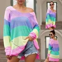 Women's Sweaters Sweater 2021Top Plus Size Womens Patchwork Long Sleeve Rainbow Stripe Blouse Knit Shirts Top