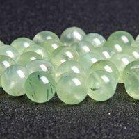 Sınıf AA Hakiki Doğal Yeşil Prehnites Kuvars Yuvarlak Pürüzsüz Gevşek Boncuk Takı Yapımı Için 6mm 8mm 10mm Pick Boyutu