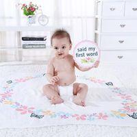 Возьмите Po с картой Baby Milestone Background Background Backless Bamboo Хлопчатобумажная марли полотенце рожденные сумки Одеяла одеяла Swaddling