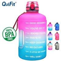 Quifit 128oz 73oz 43oz Sport Große Gallone Wasserflasche mit Filter Net Fruit Infuse BPA Free My Drink Flaschen Jug Gourd Gym Wanderern 210409
