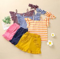Kids Clothing Sets Girls Outfits Baby Clothes Children Striped Shorts Childrens Summer Fashion T-shirts Pants Bows Headbands 3Pcs