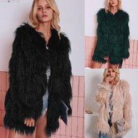 Women Fluffy Warm Long Sleeve Female Outerwear Fashion Furry Faux Fur Coat Autumn Winter Jacket Hairy Collarless Overcoat Women's &