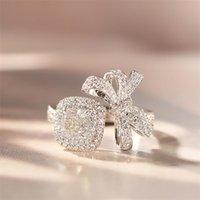 Choucong Brand New Luxury Jewelry 18K White Gold Fill Cushion Shape White Topaz CZ Diamond Gemstones Eternity Women Wedding Band Bow Ring