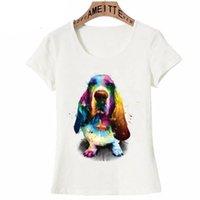 Camiseta de las mujeres linda traviesa inteligente beagle acuarela hermosa colores mujeres camisetas divertido perro diseño mujer casual tees tops de la muchacha