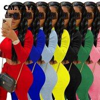 Cm. Yaya Straat Sweatsuit Mulheres Tracksuits Vrouwen Set Lange Crop Top Gestapeld Ruches Broek Actiew TrainingsPak Tweedelige Fitness Outfit
