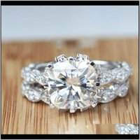 Vecalon 2016 Vintage Engagement Wedding Band Ring Set For Women 3Ct Simulated Diamond Cz 925 Sterling Silver Female Party Ring 13 R2 9 K03Sv