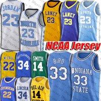 NCAA Indiana Eyalet Üniversitesi Larry 33 Kuş Jersey Laney Lisesi 23 Michaedl Formalar 14 Will Smith Sarı Jersey 34 İsa Shuttlesworth
