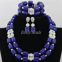 Earrings & Necklace Royal Blue Artificial Coral Beads Set Nigerian Costume Jewelry Christmas Gift CJ497