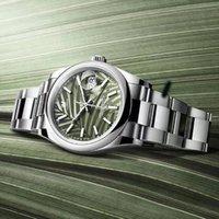 2021レディースウォッチ36mm中型グリーンリーフダイヤル日付サファイアクリスタルステンレス鋼自動メカニカル腕時計