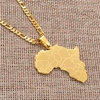 Yutong Anniyo أفريقيا خريطة قلادة القلائد النساء الرجال الذهب اللون الأفريقي مجوهرات # 077621B