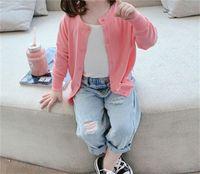 TG Coréen ins 30 Printemps Summer Enfants Filles Jeans Trous Pantalons Qualité Taille élastique Automne Enfants Hole Pantalon 767 V2