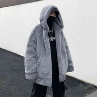 Men's Fur & Faux Fake rabbit skin jacket for men fashion trends... teen-style harajuku hip hop spring clothes... hooded big jackets. FSRG