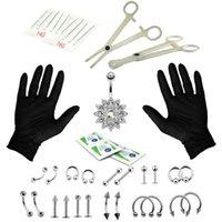 Andere 41 teile / satz Zunge Nase Button Schmuck Piercing Ringe Klemmhandschuhe Nadeln Werkzeug Kit Ohrstecker Prong Ohrringe Intern Gewinde