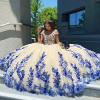 2021 Arabic Style Blue Quinceanera Dresses Masquerade Puffy Ball Gown Prom Dress With Appliques Sweet 16 vestidos de 15 anos