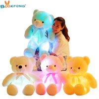Bookfond 50 cm kreative beleuchtung led teddybär gefüllte tiere plüsch spielzeug bunte glühende teddybär weihnachtsgeschenk für kinder 210419