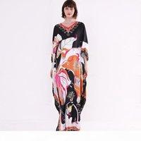 2019 여성 활주로 드레스 V 목 3 4 소매 꽃 인쇄 된 느슨한 디자인 패션 휴가 캐주얼 여름 드레스