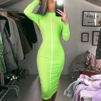 Casual Dresses Autumn Long Sleeve Turtleneck Neon Green Sexy Bodycon Midi Modern Women Party Club Streetwear Vestidos