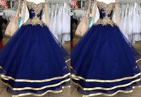 2022 Real Photo Dark Blue Gold Embroidery Quinceanera Dresses Ball Gown Off Shoulder Plus size Mexican Charron Sweetheart XV Vestido de Sweet 15 Prom Evening Dress